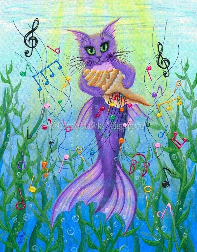 Cat Mermaid Art Sea Music Painting