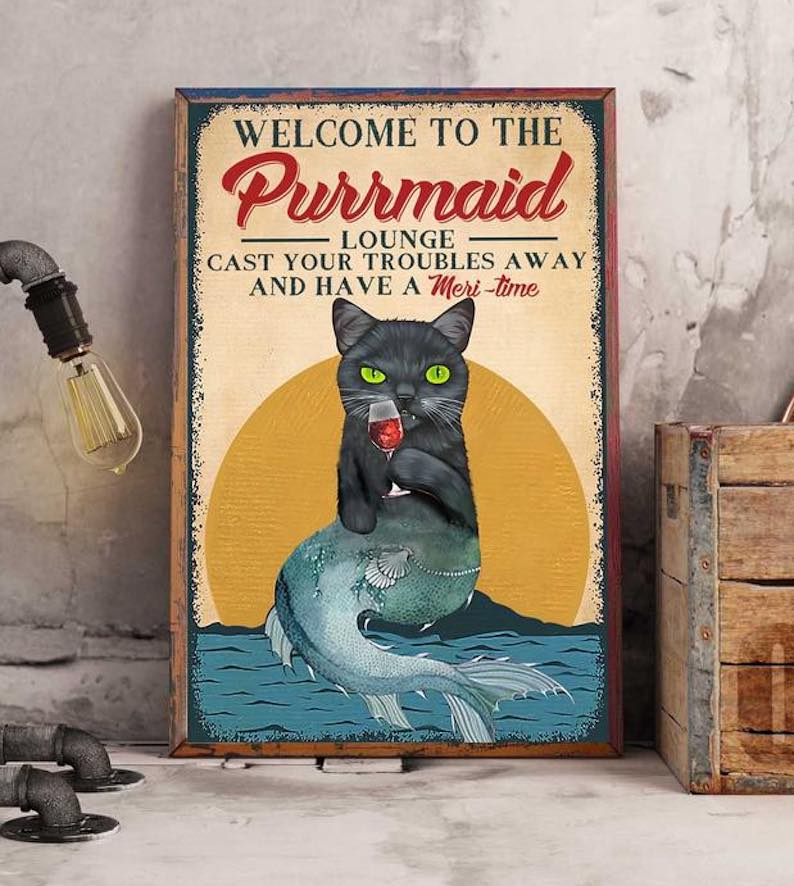'Welcome to the Purrmaid Lounge' Poster Canvas Print