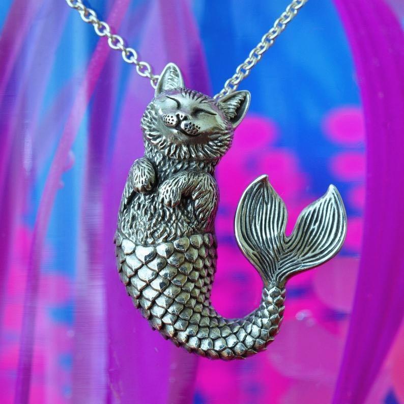 Catlantis Mermaid Cat Sterling Silver Pendant