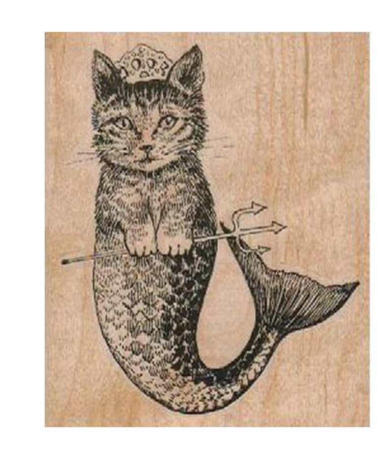 Cat Mermaid RUBBER STAMP