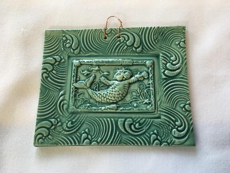 Cat Mermaid Turquoise Tile