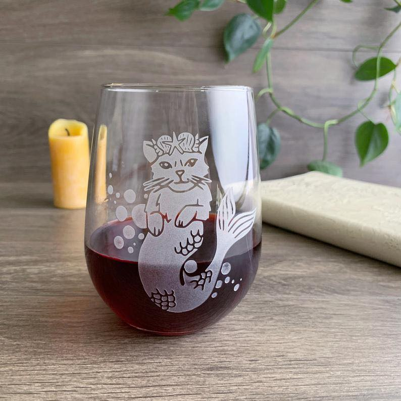 Mermaid Cat Stemless Wine Glass