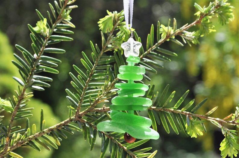 Genuine Sea Glass Delightful Tree Ornament