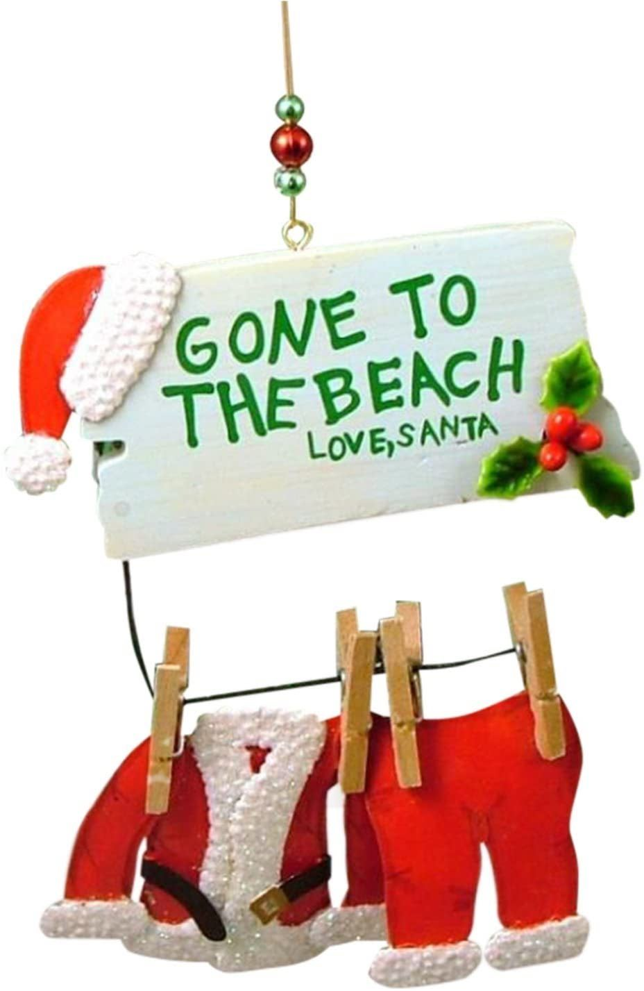 Santa Gone to The Beach Clothesline Coastal Christmas Ornaments