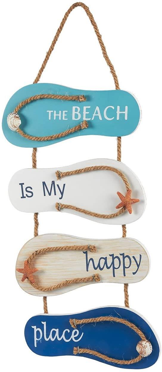 Flip Flop Wall Ornament, Wooden Slippers Hanging Decoration