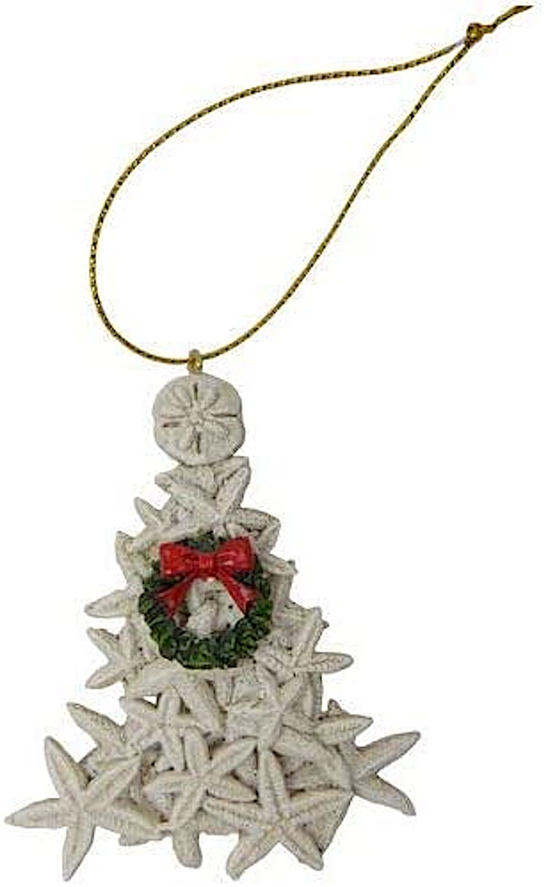 Starfish White Christmas Tree Ornament / Coastal Christmas Ornament
