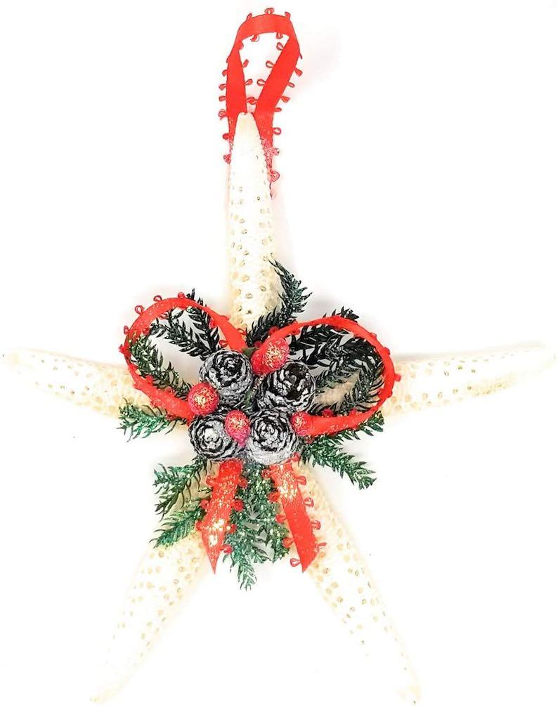 Happy Aloha Hawaiian White Finger Starfish Pinecone Coastal Christmas Ornament