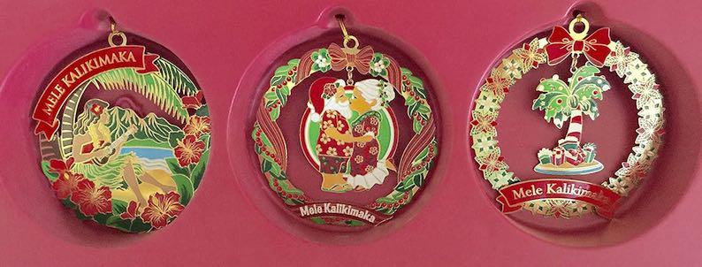 Hawaiian Festive Holiday 3-Pack Collectible Metal Christmas Ornaments