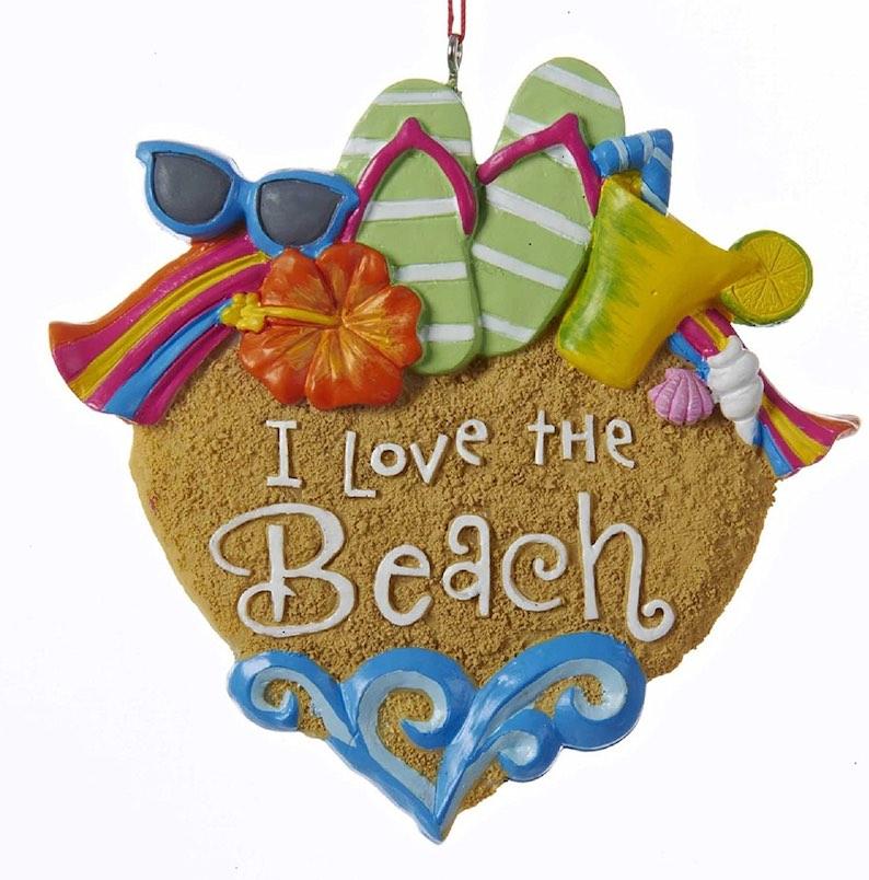 "I Love The Beach"" Sandals, Sunglasses & Shells Christmas Ornament"