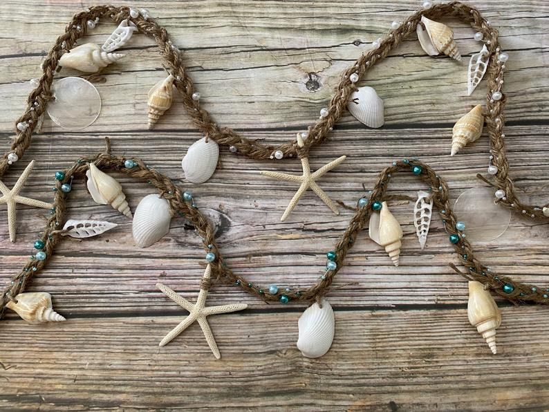 Seashell and Starfish Garland Beach Themed Christmas Decorations
