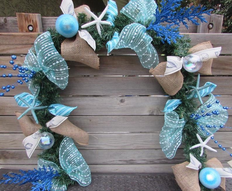 Blue Sea Christmas Swag / Beach Christmas Decorations