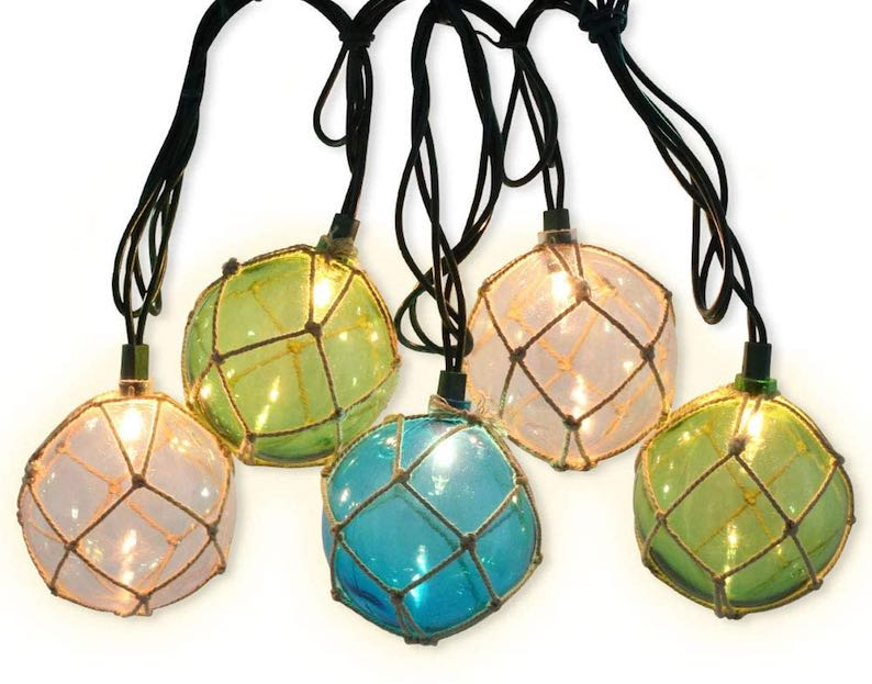 10 Nautical Fishing Floats Beach Style String Lights