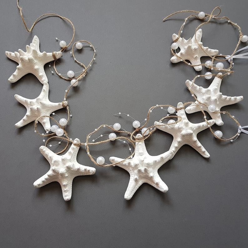 Christmas Sea Shell Knobby Starfish Garland