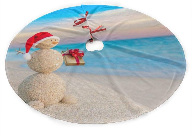 Sand Snowman On Beach Christmas Tree Skirt