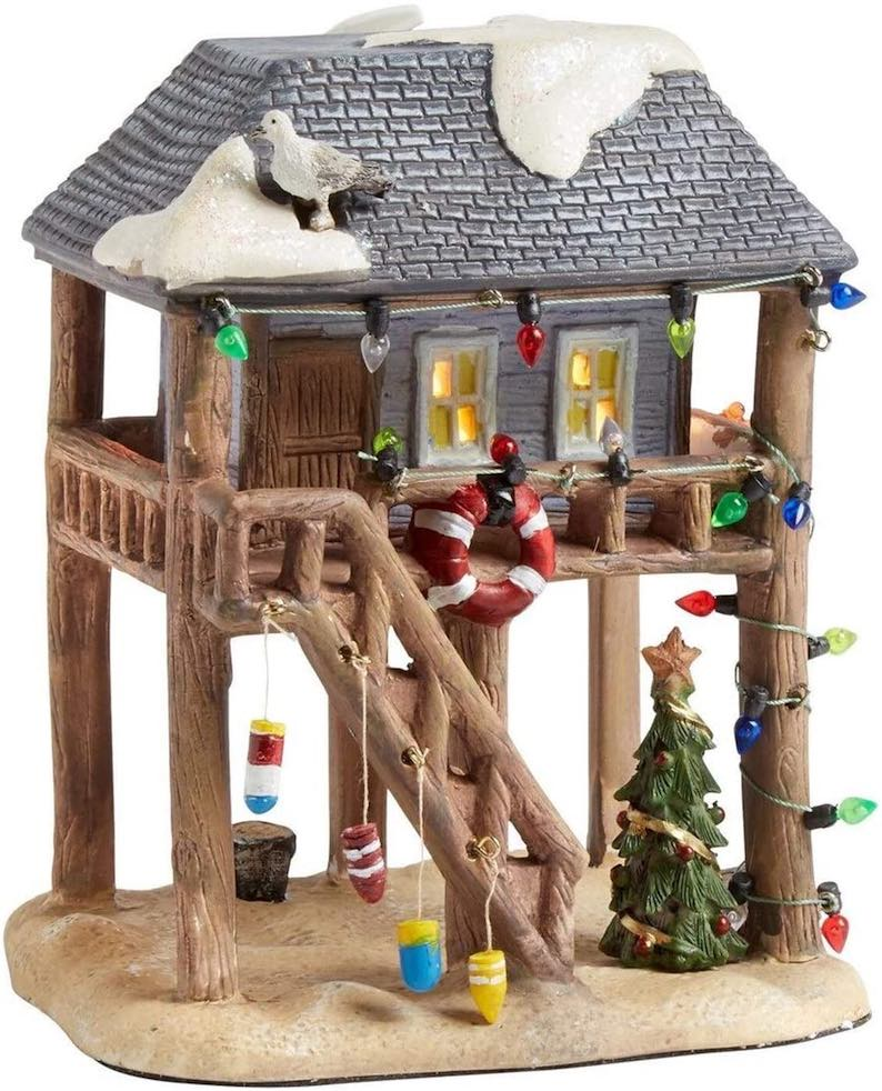 Coastal Lighted Christmas Village Beach Christmas Decorations