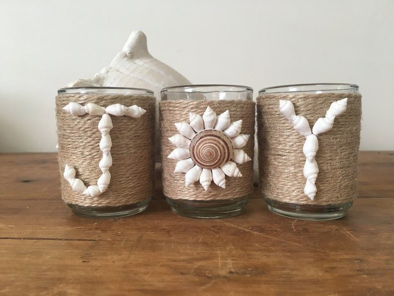 """JOY"" Seashell Flower Beach Christmas Candles"