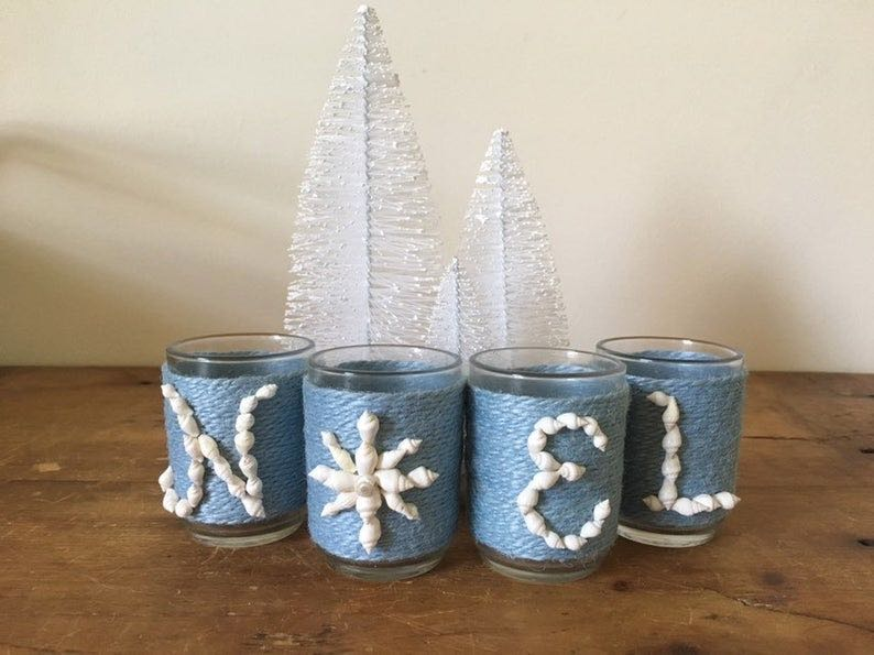 "Beachy Snowflake ""Noel"" – Jute Wrapped Votive"
