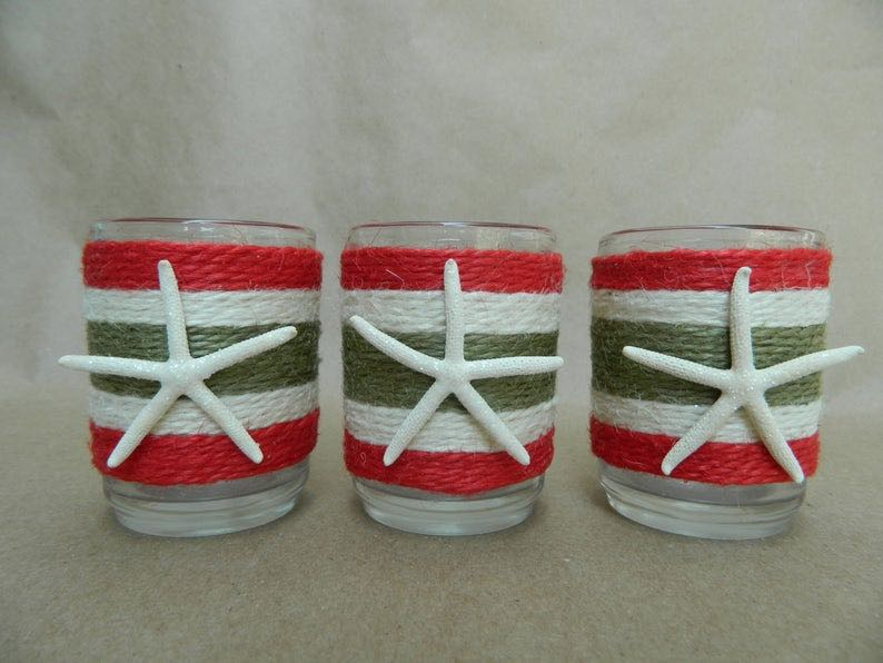 Beachy Christmas Votive set of three