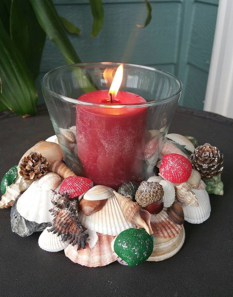 Christmas Seashell Candle Holder