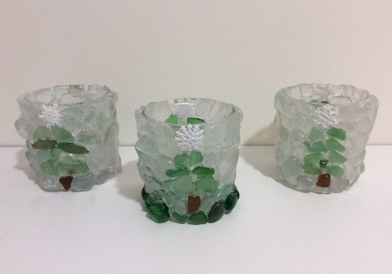 Handmade Christmas Tree Boho Sea Glass Candle Holder