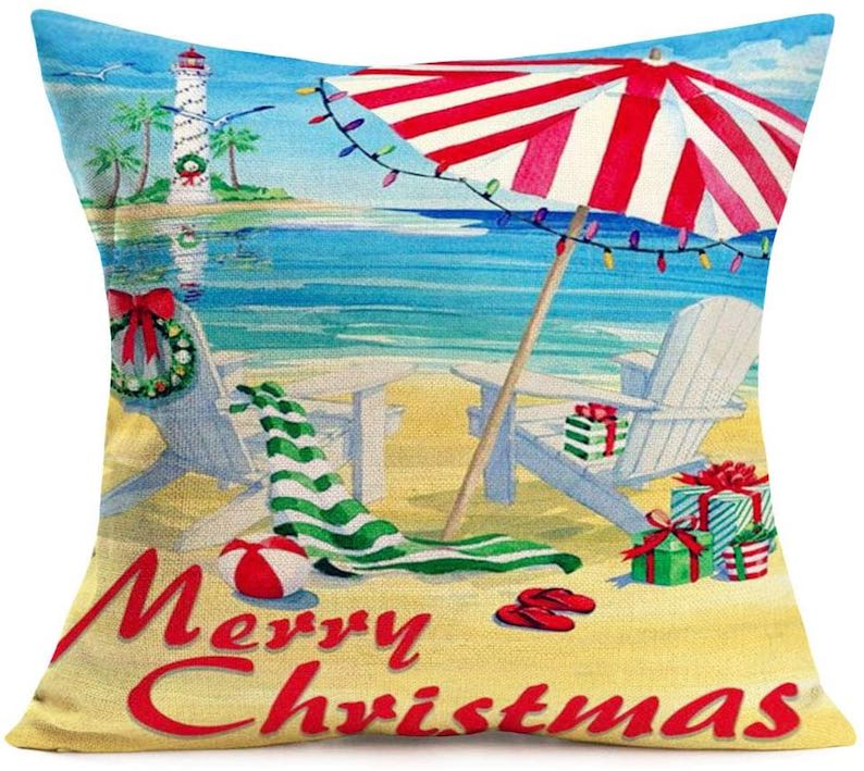 Merry Christmas Beach Decor Throw Pillow Cover