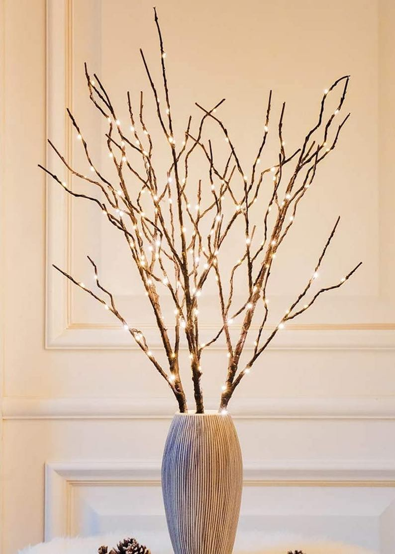 Lighted Brown Willow Branches