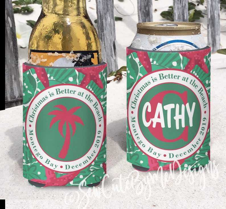 """Christmas is Better at the Beach"" Koozies"