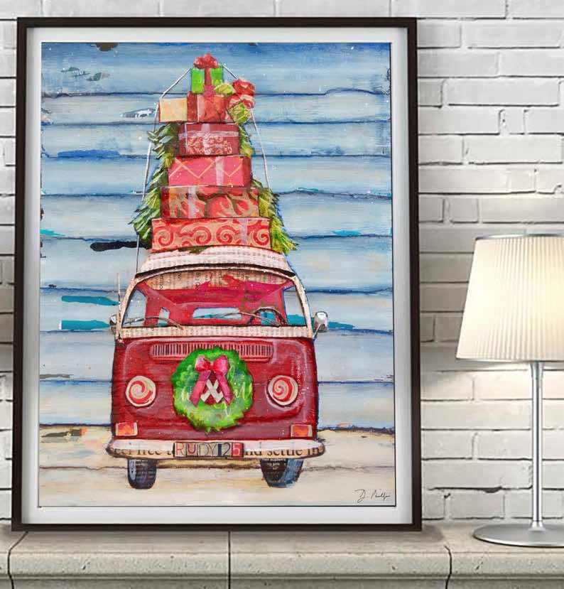 The Christmas VW Bus – Red Antique Van with Wreath & Presents ART PRINT
