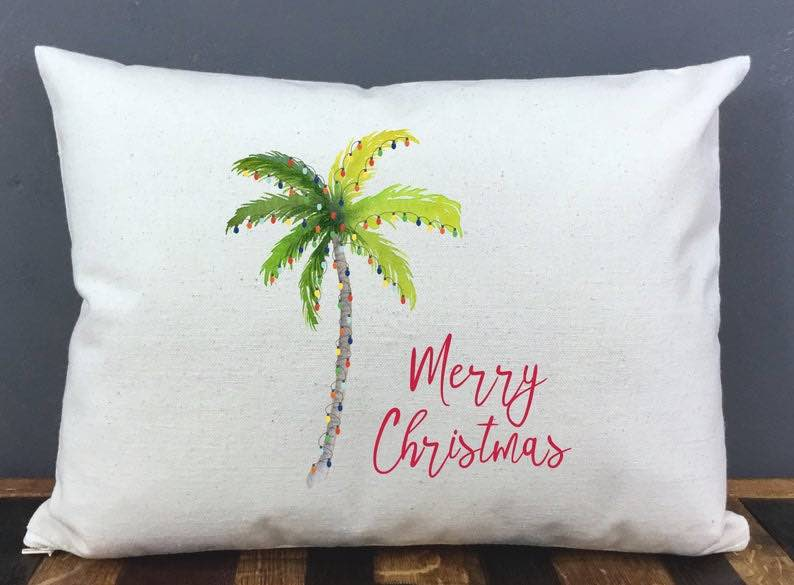 Beach Christmas Pillow Cover and Insert