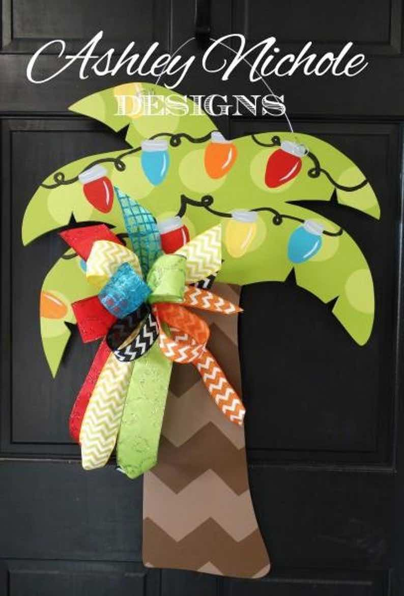 Palm Tree Christmas Door Hanger