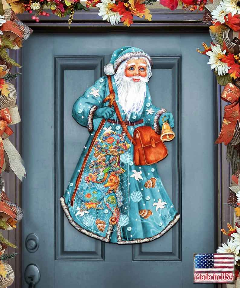 Coastal Fishermen Santa Wooden Door Hanger