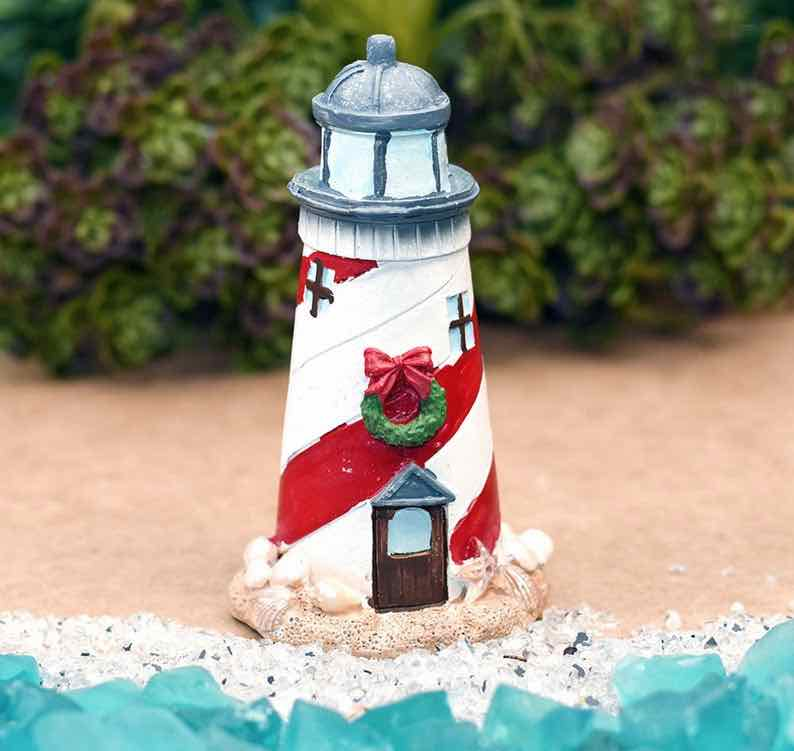 Beach Christmas Lighthouse – Beach Themed Miniature Fairy Garden Supply