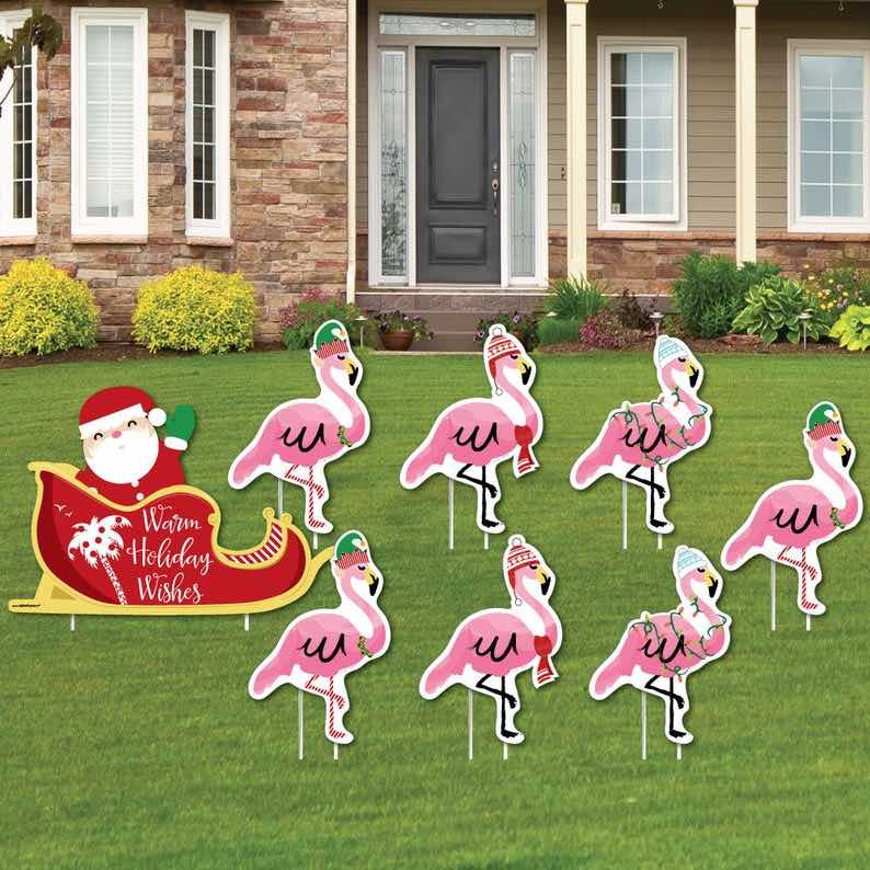 Christmas Flamingos Lawn Decorations