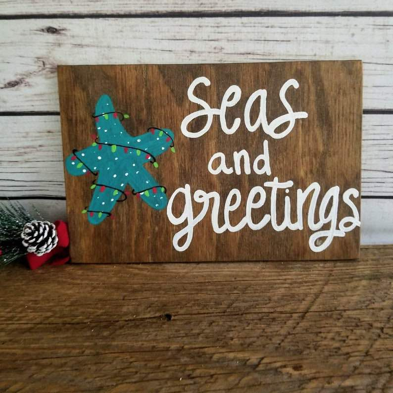 """Seas and Greetings"" Coastal Christmas Wall Art"