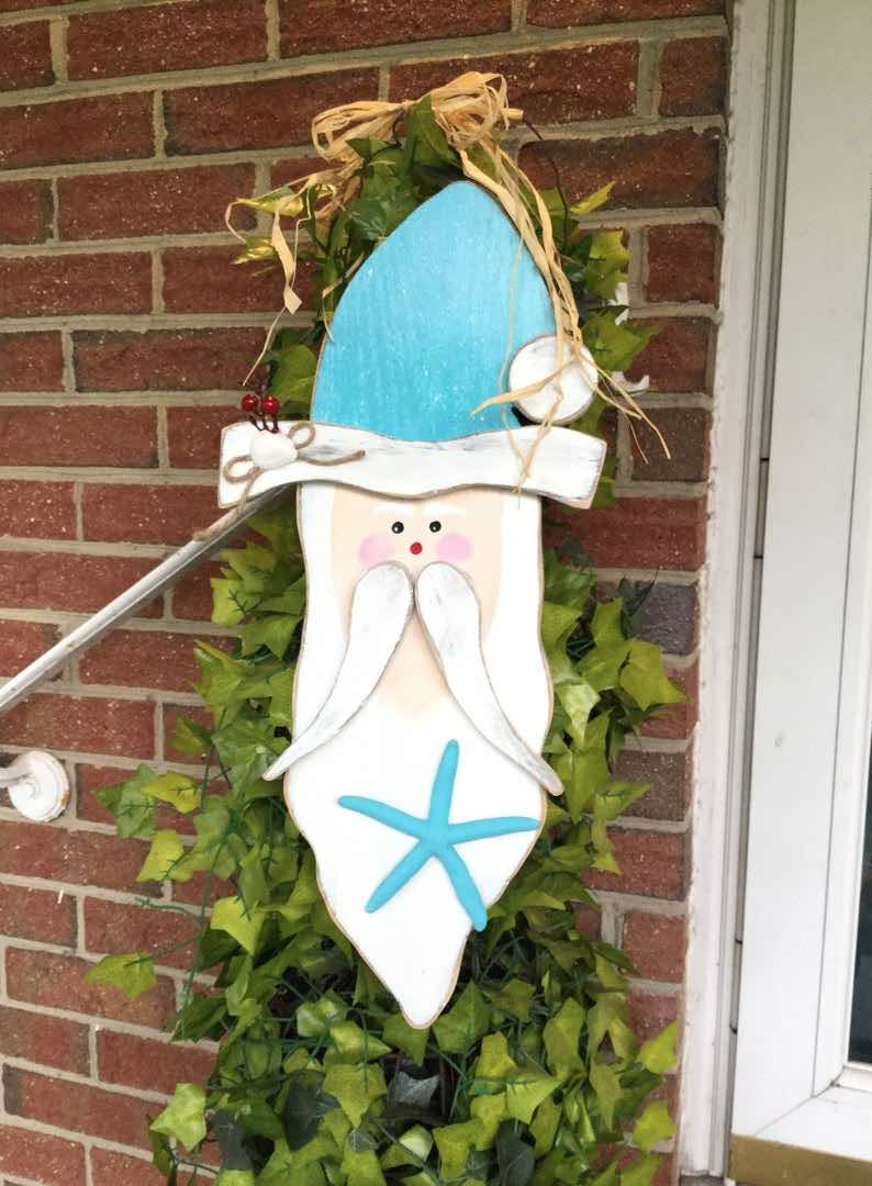 Starfish Santa, Beach Christmas Coastal Wall Art