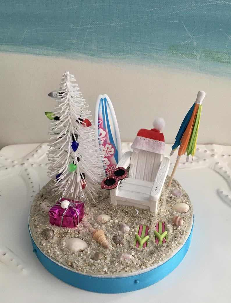 Desktop Christmas Beach Adirondack Chair with Christmas Tree