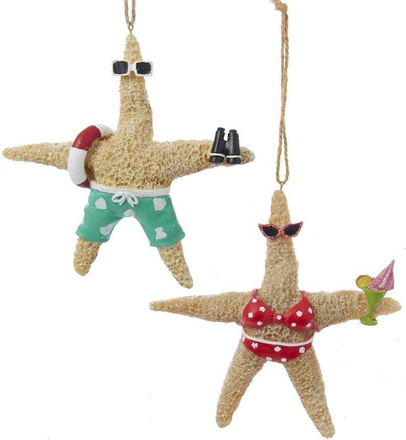 Starfish in Swimsuits Whimsical Christmas Tree Ornaments