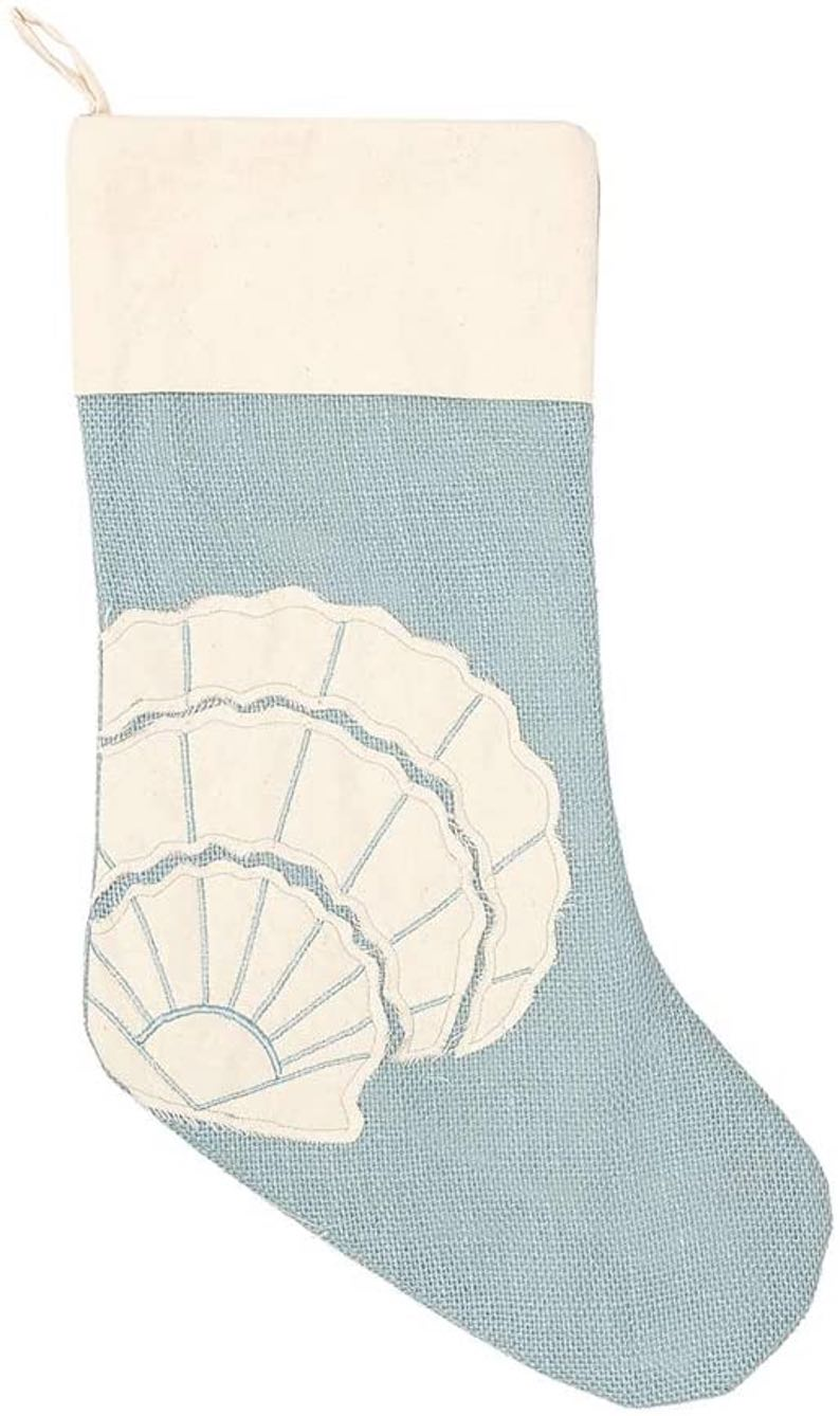 Nautical Blue Burlap with Scallop Shell Christmas Stocking