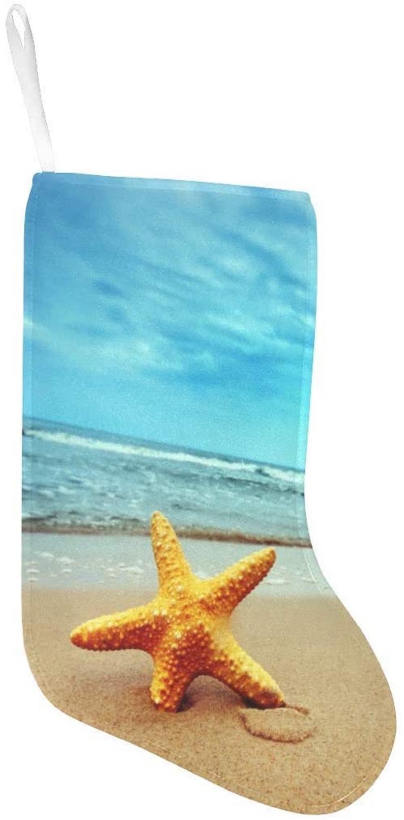 Starfish on Tropical Beach at Sunset Christmas Stocking