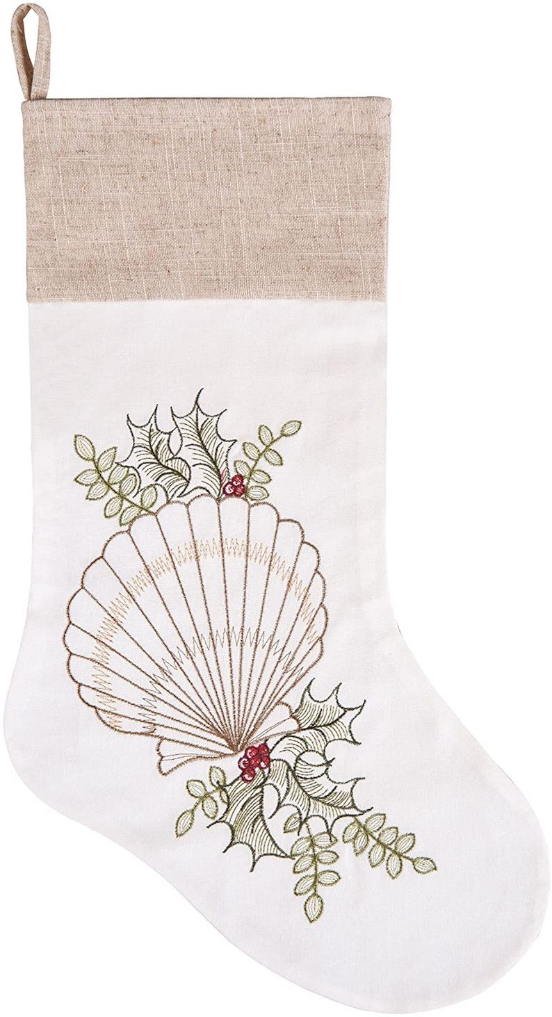 Shells with Holly Christmas Stocking