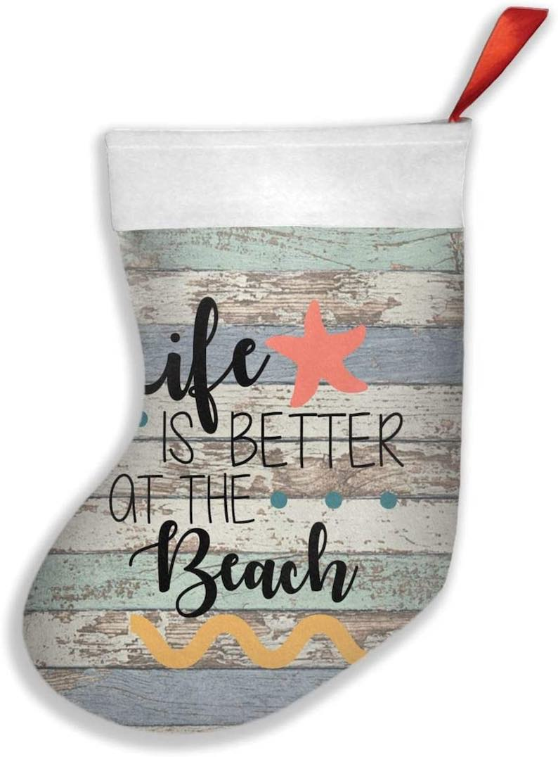 """""""Life is Better at The Beach"""" Personalized Christmas Stocking"""