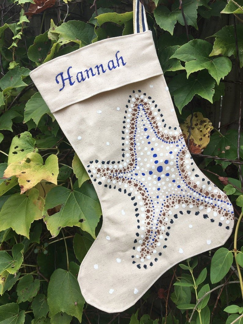 Colorful Starfish Coastal Christmas Stocking