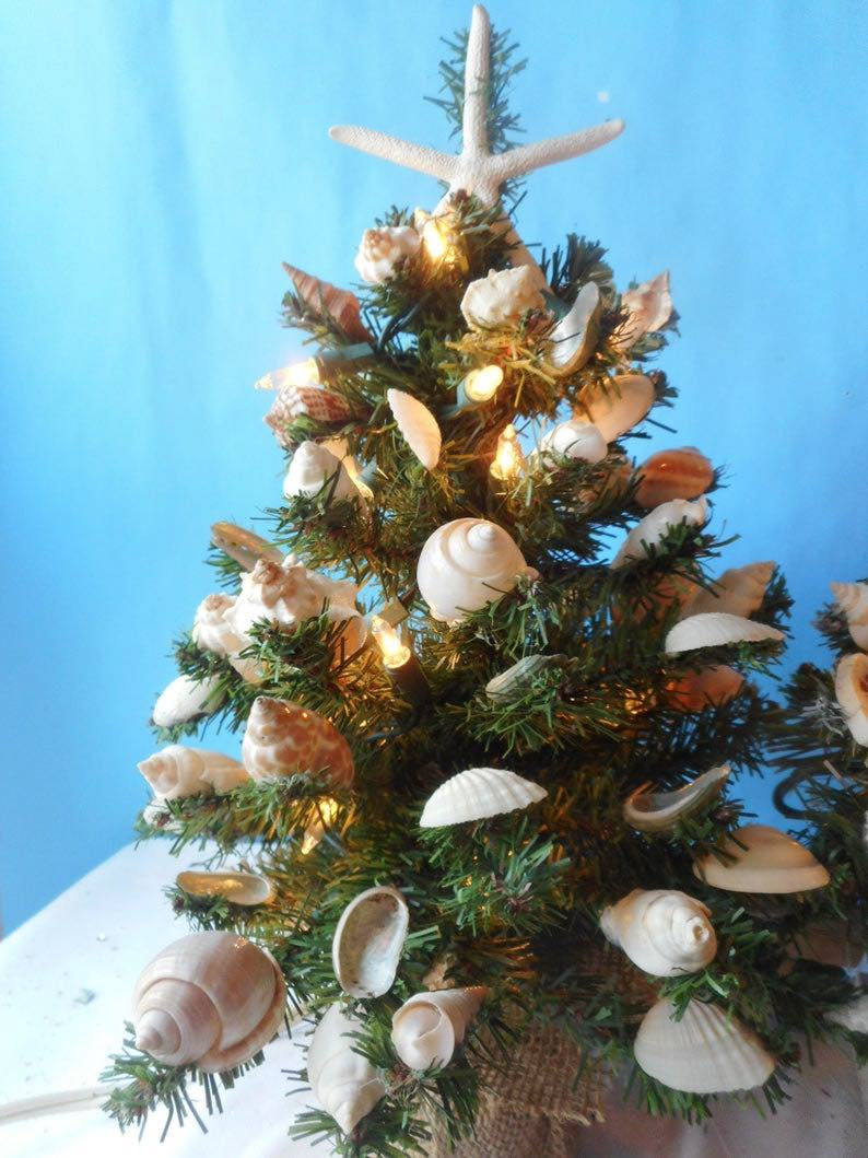 Holiday Tabletop Tree with Shells