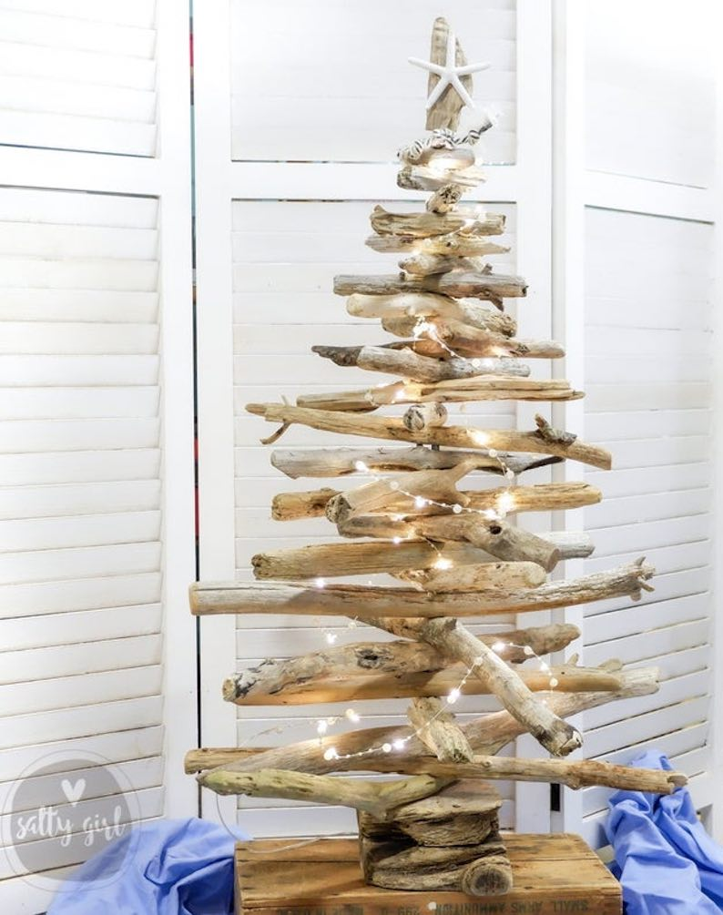 3 Ft Tabletop Driftwood Christmas Tree with Starfish