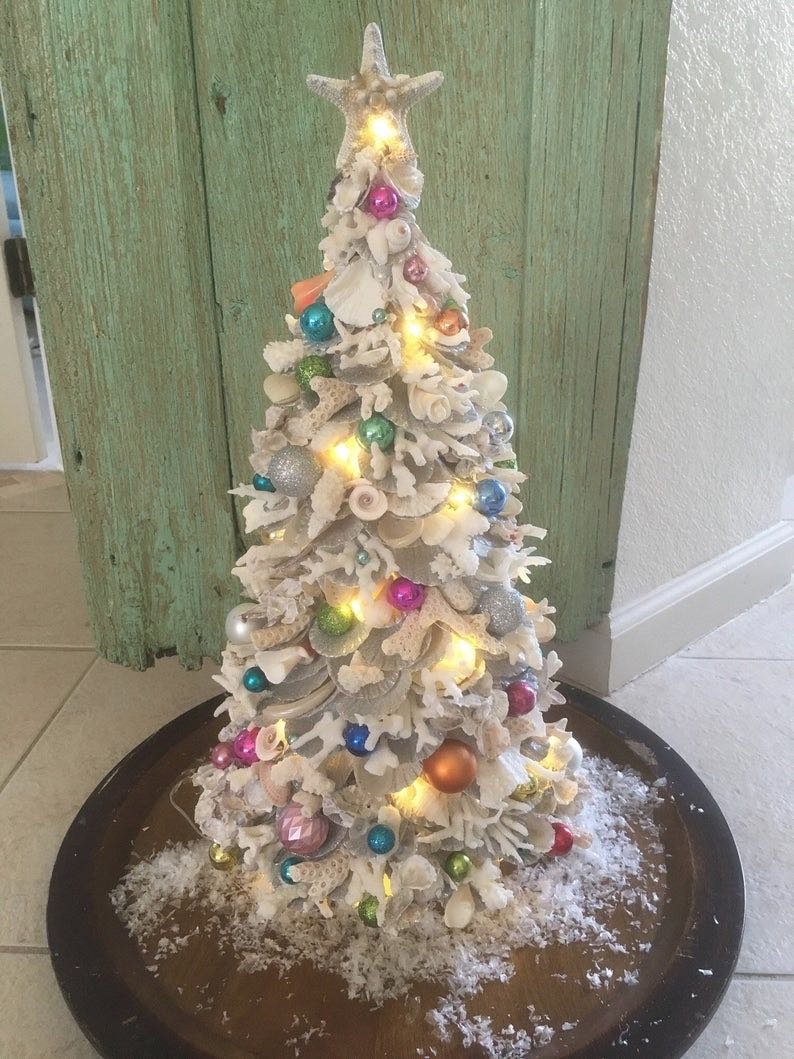 Coastal Coral Sheashell Pre-Lit Christmas Tree with Ornaments