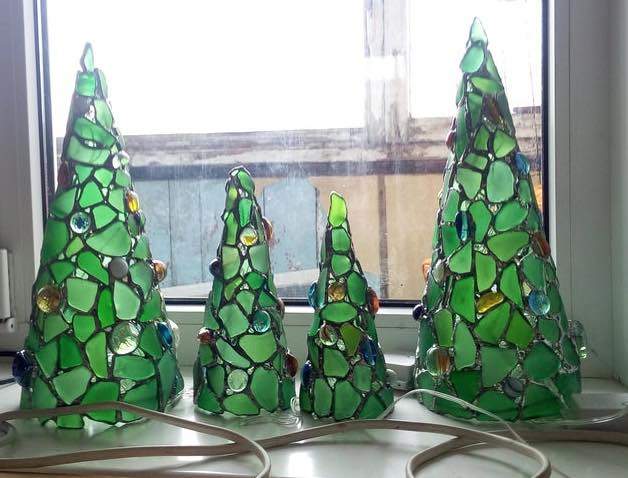 Stained Glass / Green Sea Glass Christmas Tree
