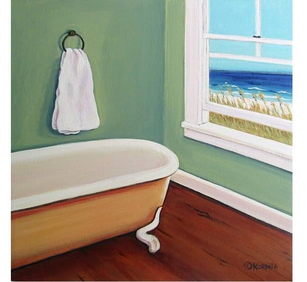 Seashore Clawfoot Tub Art
