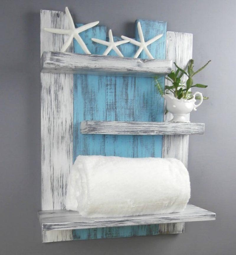 Rustic Wooden Bathroom Shelves