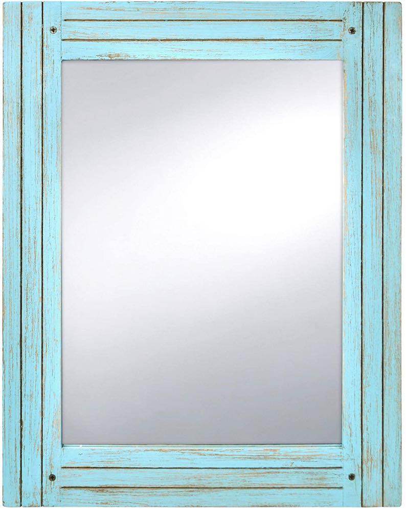 Distressed Blue Wood Mirror