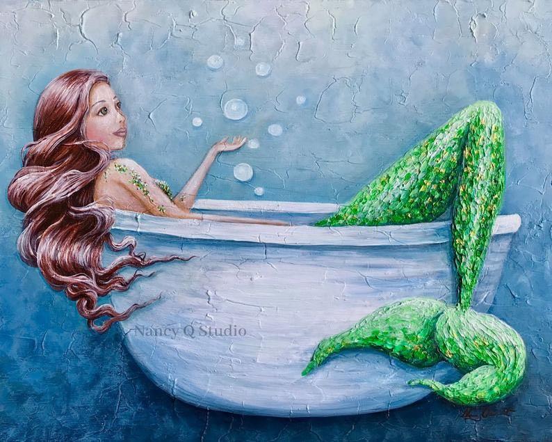 Mermaid in Tub Print